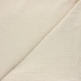 Tissu double gaze bambou uni - beige x 10cm