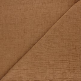 Plain bamboo double gauze fabric - nutmeg x 10cm