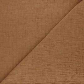 Tissu double gaze bambou uni - muscade x 10cm