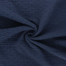 Plumetis double cotton gauze fabric - navy blue x 10cm