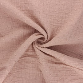 Tissu double gaze de coton plumetis - eau de rose x 10cm
