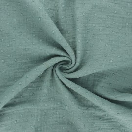 Plumetis double cotton gauze fabric - eucalyptus x 10cm