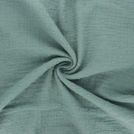 Tissu double gaze de coton plumetis - eucalyptus x 10cm