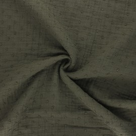 Tissu double gaze de coton plumetis - vert foncé x 10cm