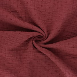 Tissu double gaze de coton plumetis - terracotta x 10cm