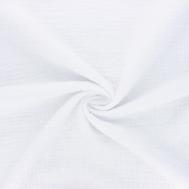 Tissu double gaze de coton plumetis - blanc x 10cm