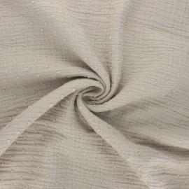 Tissu double gaze de coton plumetis - grège x 10cm