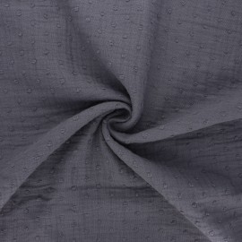 Plumetis double cotton gauze fabric - mouse grey x 10cm