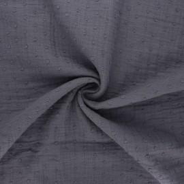 Tissu double gaze de coton plumetis - gris souris x 10cm