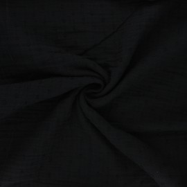 Plumetis double cotton gauze fabric - black x 10cm