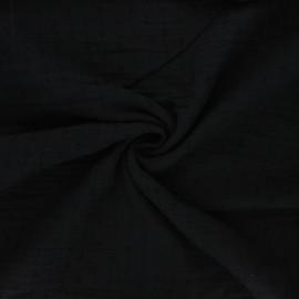 Tissu double gaze de coton plumetis - noir x 10cm