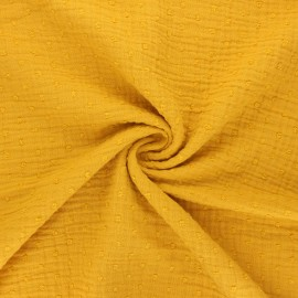 Plumetis double cotton gauze fabric - mustard yellow x 10cm