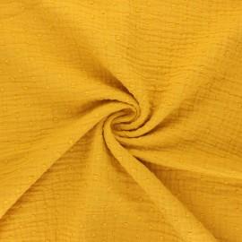 Tissu double gaze de coton plumetis - jaune moutarde x 10cm