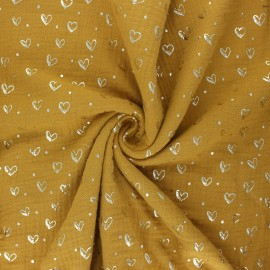 Double gauze fabric - honey Coeur doré x 10cm