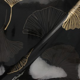 Oilcloth fabric - black Gingko x 10cm
