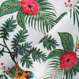 Oilcloth fabric - white Parrot x 10cm