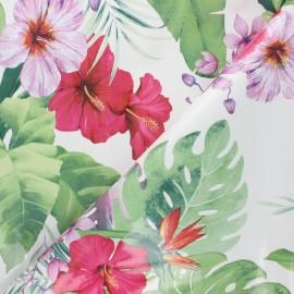 Tissu toile cirée Jungle - blanc x 10cm