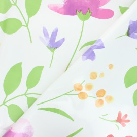 Oilcloth fabric - white Flowers x 10cm