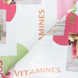 Oilcloth fabric - white Vitamines x 10cm