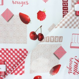 Oilcloth fabric - white Fruits rouges x 10cm