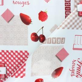 Tissu toile cirée Fruits rouges - blanc x 10cm