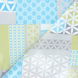 Tissu toile cirée Mozaic - bleu x 10cm