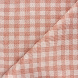 Coated recycled cotton fabric - rust Vichy x 10cm