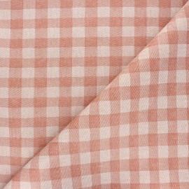 Tissu coton enduit recyclé Vichy - rouille x 10cm