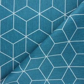 Matte coated polycotton fabric - duck blue Cubik x 10cm