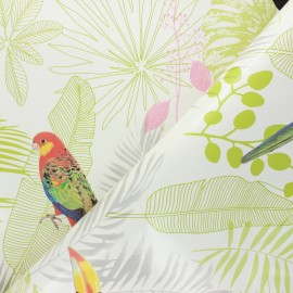 Oilcloth fabric with table protector reverse - white Amazonia x 10cm