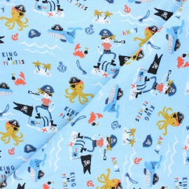 Poppy jersey fabric - light blue Pirates x 10cm