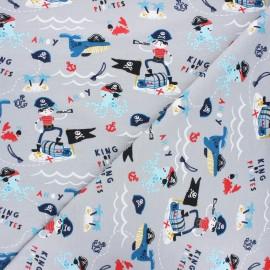 Poppy jersey fabric - light grey Pirates x 10cm