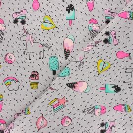Poppy jersey fabric - light grey Unicorn party x 10cm