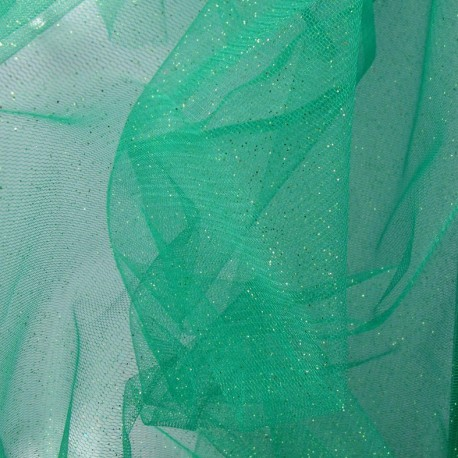 Flexible Sequined Tulle - Green x 10cm