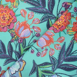 Tissu coton enduit Garden - vert lagon x 10cm