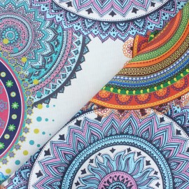 Coated cotton fabric - multicolor Mandala party x 10cm