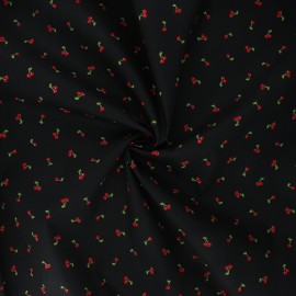 Poppy poplin cotton fabric - black I like you cherry much x 10cm