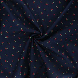 Poppy poplin cotton fabric - night blue I like you cherry much x 10cm