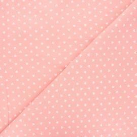Tissu coton lavé Petit coeur - rose clair x 10cm