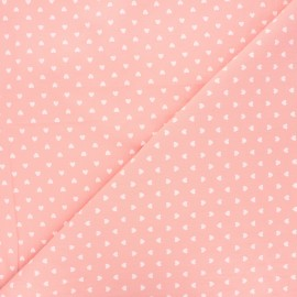 Washed cotton fabric - light pink Petit coeur x 10cm