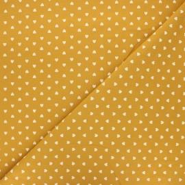Tissu coton lavé Petit coeur - ocre x 10cm