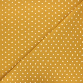 Washed cotton fabric - ochre Petit coeur x 10cm