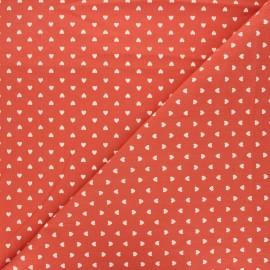Tissu coton lavé Petit coeur - terracotta x 10cm
