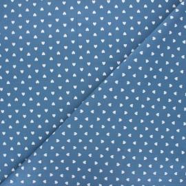Tissu coton lavé Petit coeur - bleu houle x 10cm