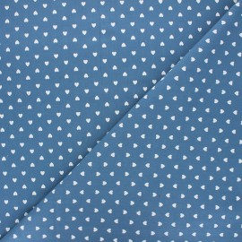 Washed cotton fabric - swell blue Petit coeur x 10cm