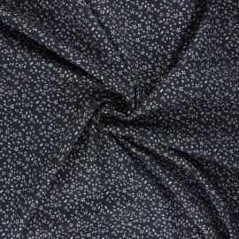 Elastane poplin cotton fabric - night blue Flory x 10cm