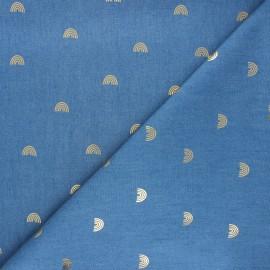Light denim fabric - light blue Gold rainbow x 10cm