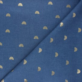 Light denim fabric - blue Gold rainbow x 10cm