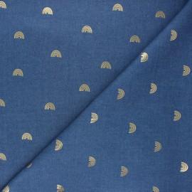 Tissu jeans fluide Gold rainbow - bleu x 10cm