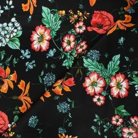 Tissu gabardine lycra satiné Fleurs sauvages - noir x 10cm